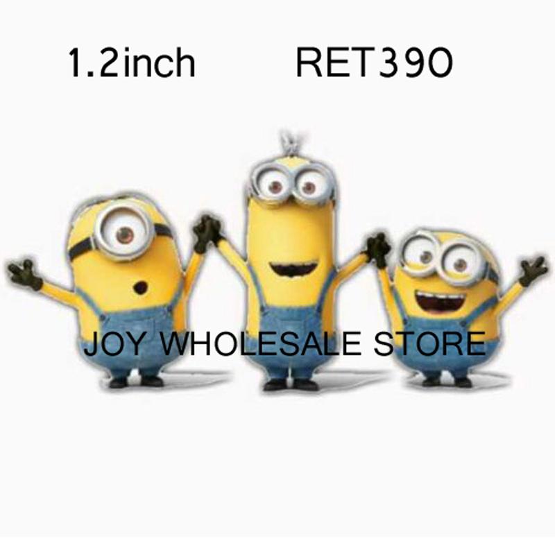 50pcs,1.2inch cartoon minions resin flat back planar resin for diy craft resin RET390(China (Mainland))
