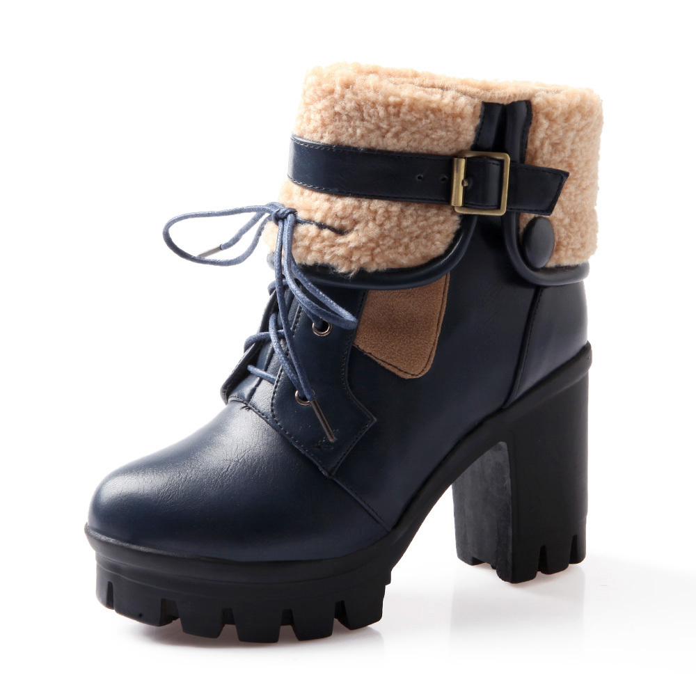 ladies PU leather Black red yellow beige square heel women ankle boots woman 2015 new Winter fashion classic warm platform shoes(China (Mainland))