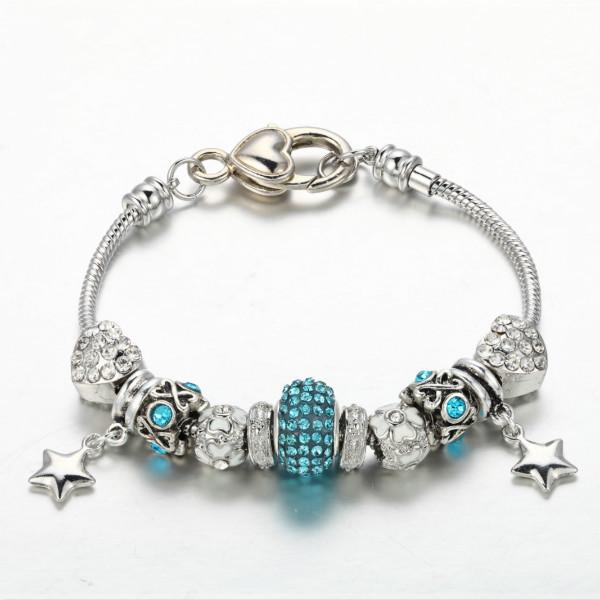 CDE 2015 Fashion CZ Stone Charm Bracelets & Bangles Women European Beads Fashion Jewelry Wholesale(China (Mainland))