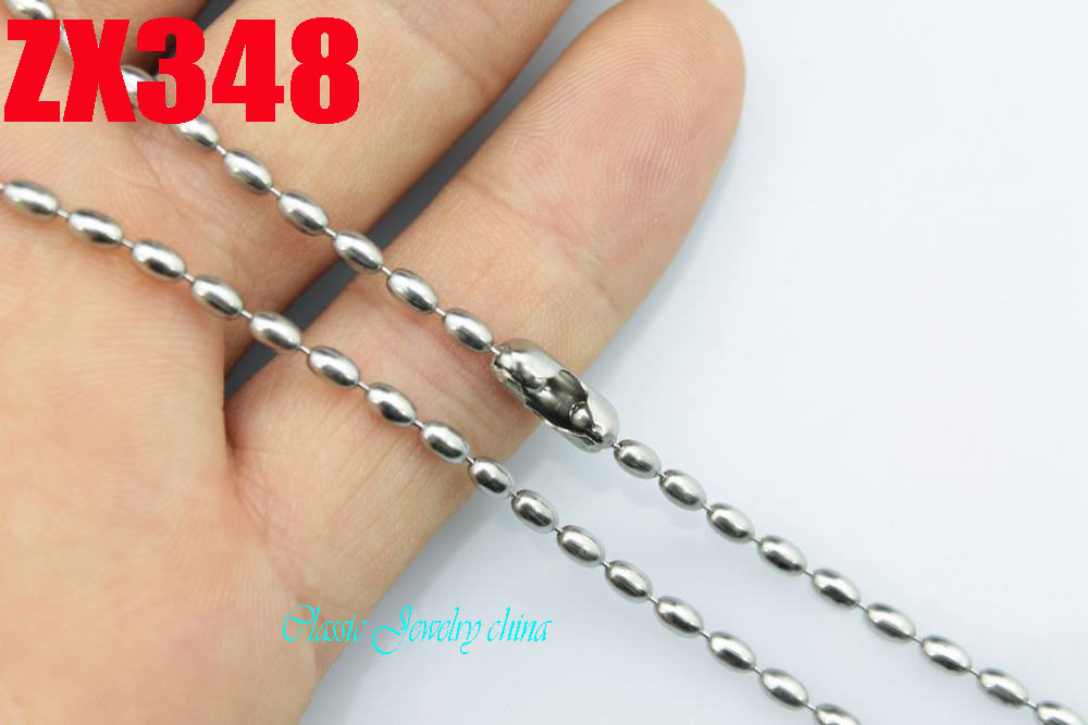 """14""""-38"""" length 2.4mm Olive shape bead chain 316L stainless steel necklace fine lady's fashion Jewelry chains parts ZX348(China (Mainland))"""