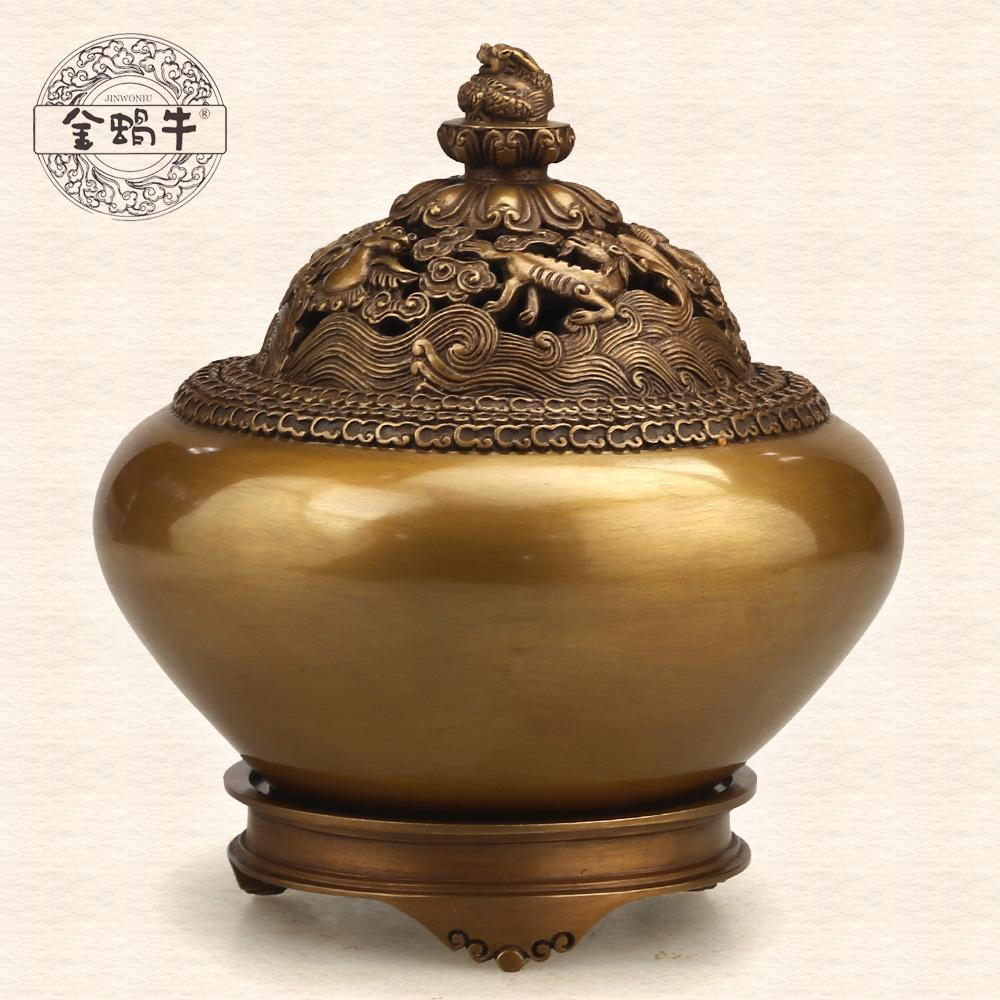 The golden snail 8 # boiler refined copper with cover manual smoked incense burner buddhist temple gifts with decoration(China (Mainland))