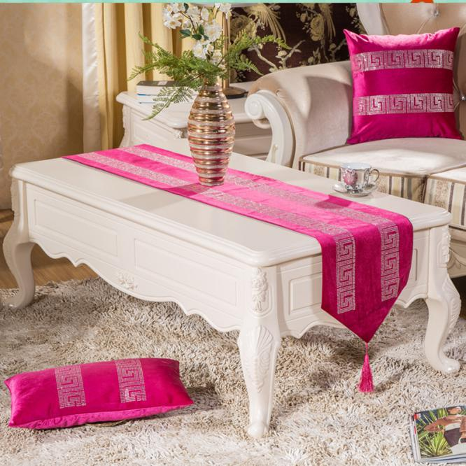 High End Luxury Velvet Rhinestone Home Decorations geometric print table runner cloth 8 colors for choose tablets placemat(China (Mainland))
