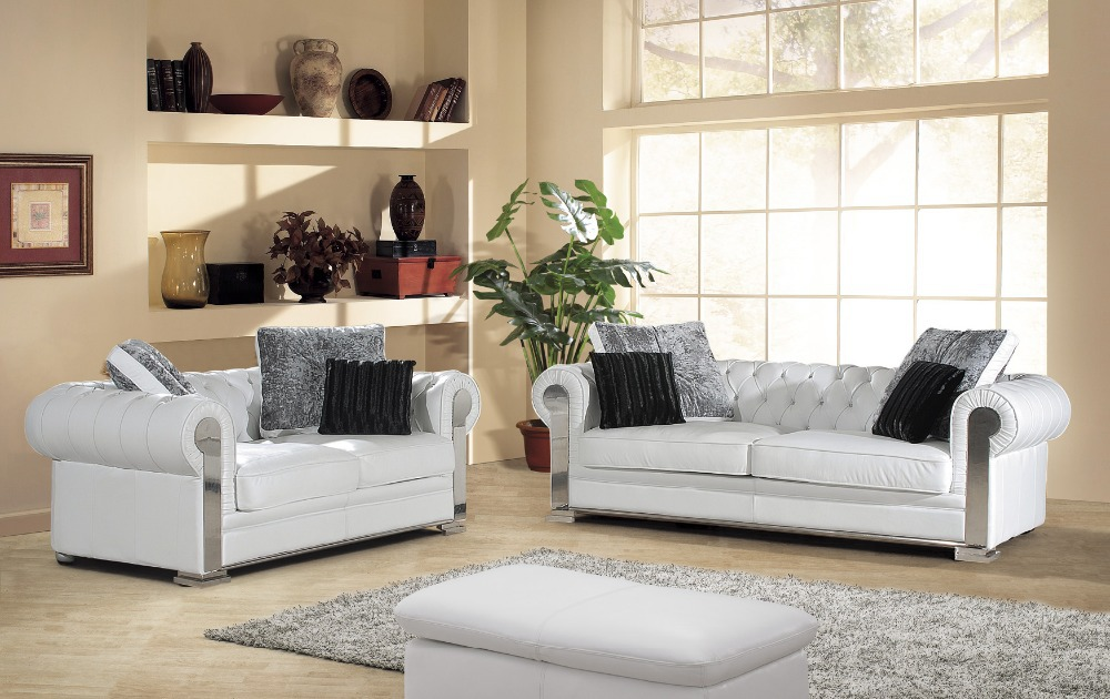 2015 New Arrival Genuine Leather Chesterfield Sofa European Style Modern Set Living Room Sofas Sofa Set Living Room Furniture(China (Mainland))