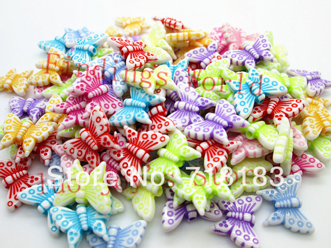 Free Shipping Mixed 200Pcs Butterfly Acrylic Beads Frosted Washed Acrylic Spacers Beads 16x12mm For Fashion Jewelry Makeing(China (Mainland))