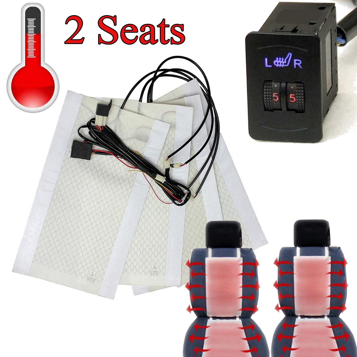 Brand New 2 Seats Universal Carbon Fiber Heated Seat Heater 12V Pads 2 Dial 5 Level Switch<br><br>Aliexpress
