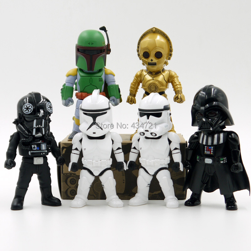 "6pcs Classic Sci-Fi Movie Star Wars C-3PO Storm Trooper Darth Vader Boba Fett With Eyes Light 3.75"" Figure Toys New Box(China (Mainland))"