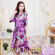 RB001 Women Robe Sexy Wedding Gown Silk Robes For Bridesmaids Nightgown Sleepwear Nightdress Satin Bathrobe Royal Floral Kimono(China (Mainland))