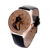 Moda relogio feminino mujeres para mujer pulsera de cuarzo de cuero clásico del sexo gatito del Rhinestone del diamante relojes mujer Hours-w024