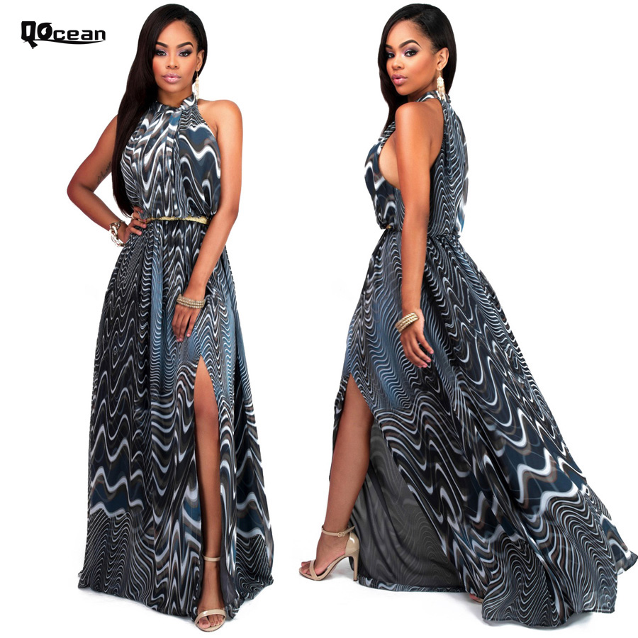 2016 Vestidos Summer Women Sexy Maxi Dress Woman Party Vestido Long Dresses Hang Neck Collar New Print Elegant Clothes RD125(China (Mainland))