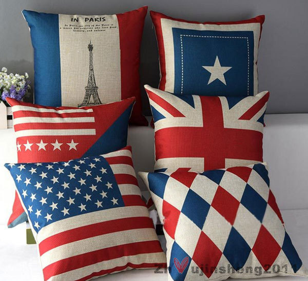 New Flag Diamond Various Pattern Cotton Jute Pillowcase Home Decor Cushion Cover Only One Cover.(China (Mainland))
