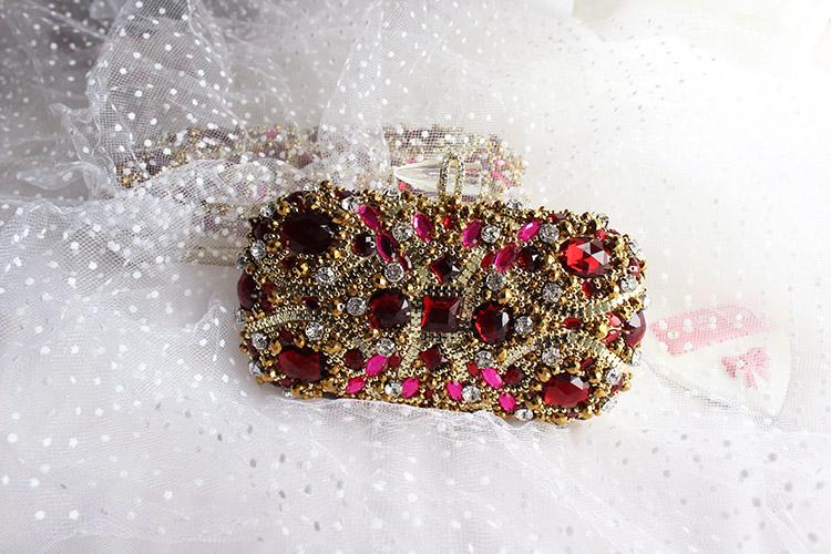 Original Design Vintage Baroque Red Gemstone Clutch Bag Golden Wedding Bag Evening Bag Women Party Purse Pochette Beading Bag(China (Mainland))