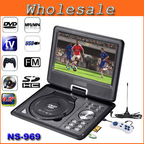 "Black 9.5"" LCD TFT Swivel Portable Games DVD Player With TV/FM Radio+USB+MP3 Player Support RMVB Mobile DVD Players NS-969(China (Mainland))"