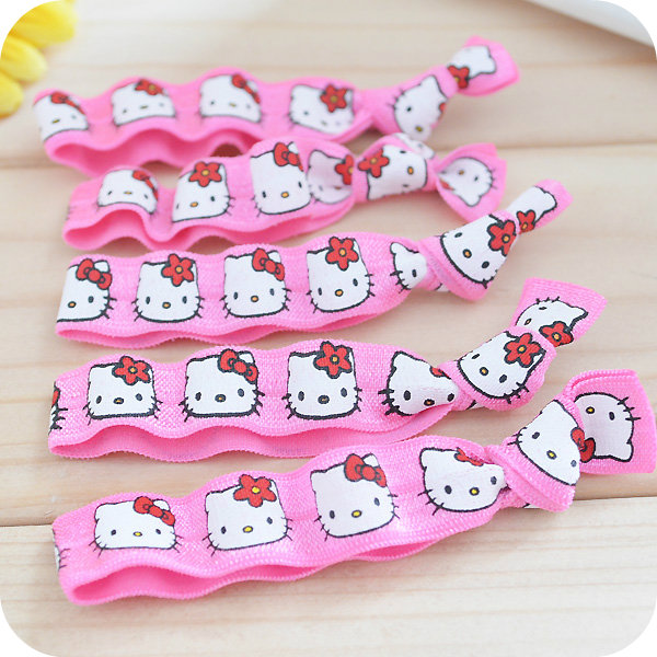 Kawaii Hello Kitty Pink Scrunchie Hair Band,Elastic rope,Hair Ring.Ladies Girls Hair Bands Styling Jewelry.Kids Party Supplies(China (Mainland))