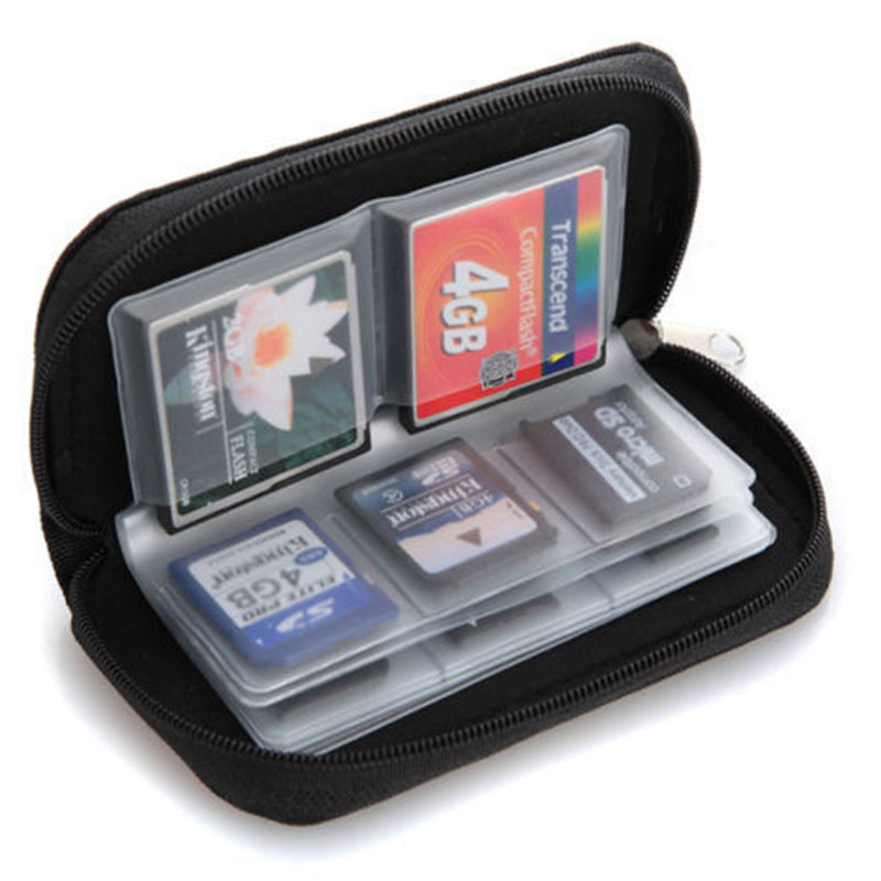 Potable Nylon SD SDHC MMC CF Micro SD Memory Card Storage Carrying Pouch Zipper Bag Case Holder Wallet 22 cards slot(China (Mainland))