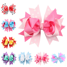 Buy 5 Inch Big Hair Bow Girls dot butterfly Ribbon rainbowHair Bows Clip Boutique HairClip Hairpin headwear Hair Accessories for $1.21 in AliExpress store