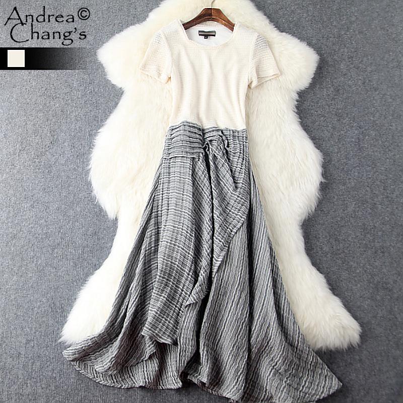 spring summer runway designer women dress beige knitted top black white strip bottom front split casual brand cotton linen dress(China (Mainland))