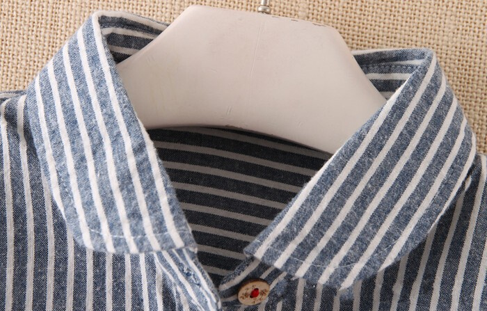 Striped pocket cat embroidery peter pan collar cute shirt spring blouse mori girl