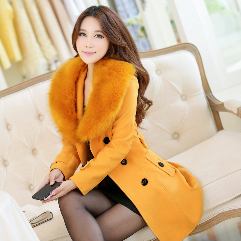 big fur collar women's casual wool coat long design 2015 autumn winter slim female overcoat double breasted abrigo de lana(China (Mainland))