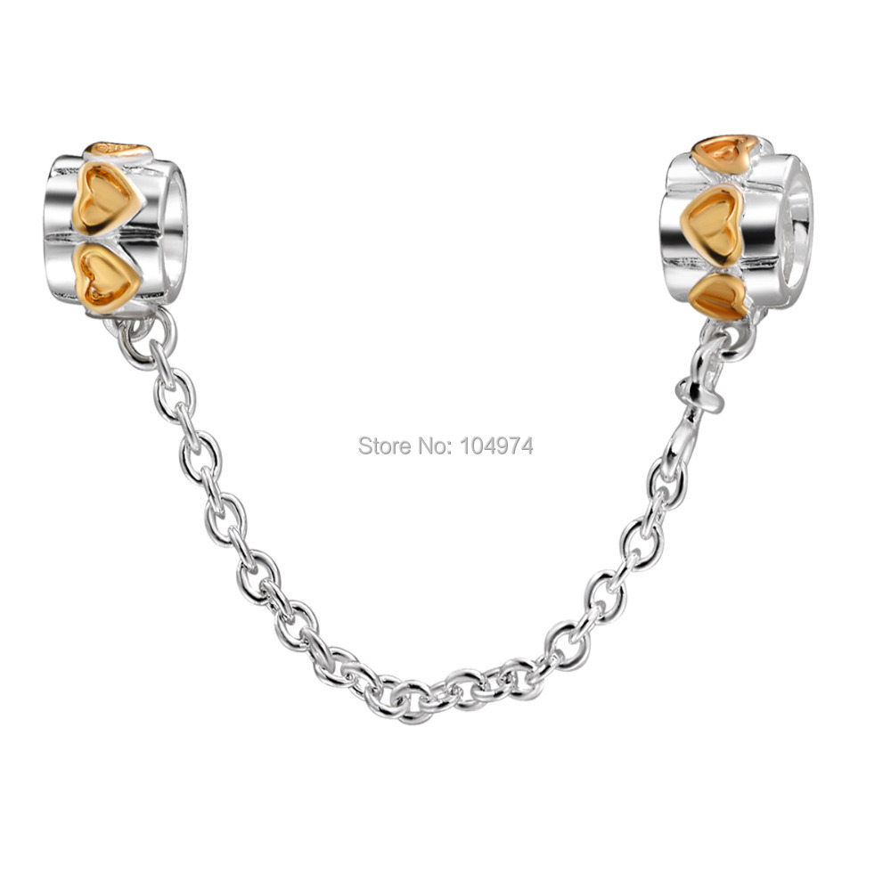 Wholesale Golden Hearts Safety Chain 925 Sterling Silver Beads Fit diy European Charm Snake Chain Bracelet Female Jewelry(China (Mainland))