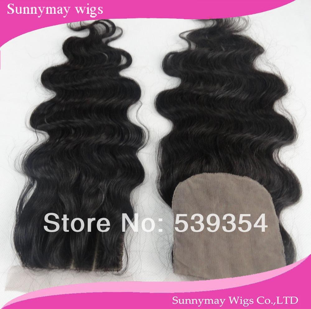 Фотография Stock Natural Looking Body Wave Brazilian Virgin Human Hair Silk Base Lace Closure Natural Brown Color 3 Part