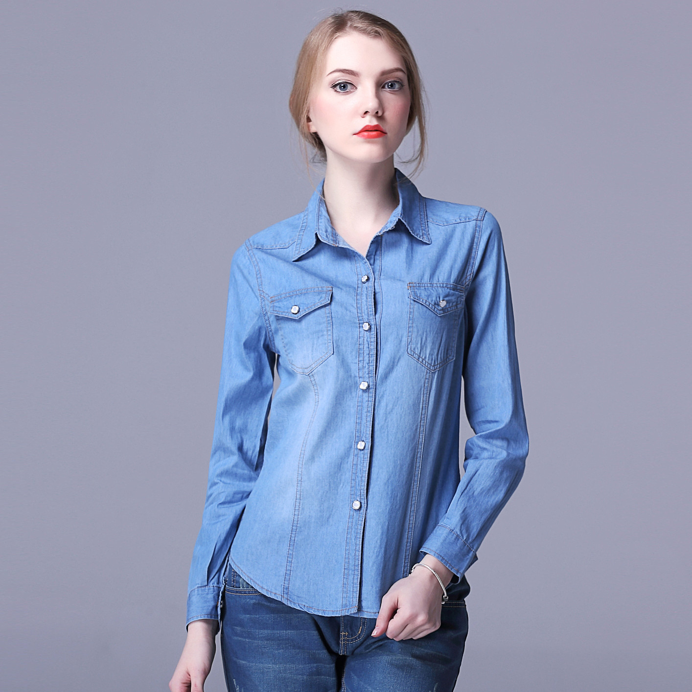 Free shipping high quality summer style blouses 2016 new fashion plus size sky blue ladies office korean denim shirt(China (Mainland))