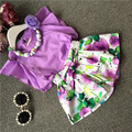 Hot sell girls elegant clothes set floral clothing sets with necklace purple shirt flower pants high