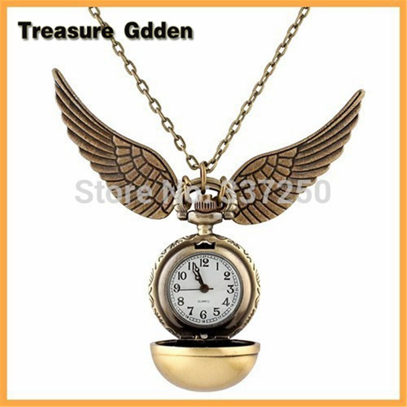 Harry Potter Snitch Watch Pendant Necklace Steam punk Quidditch Wings Clock Quartz Pocket Watch(China (Mainland))