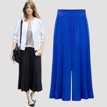 2016 Women Casual Pants Capris autumn High Waist Wide Leg Trousers Loose Pants Plus Size XL-6XL(China (Mainland))
