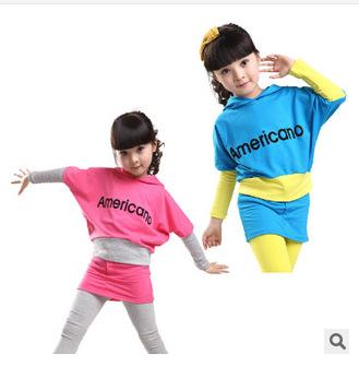 3456789-10-11 Y New 2015 Spring&autumn Children 100% Cotton Clothing Sets Girls Bat Shirt + Culotte Pants Sports Suits Clothes(China (Mainland))