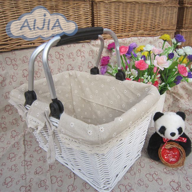 Natural environmental protection handle basket Willow picnic basket round car shopping basket Japanese Style white color(China (Mainland))