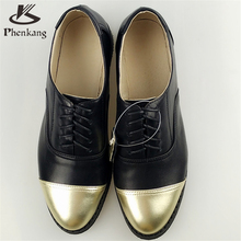 2016 Genuine leather flat oxford shoes for women US size 11 handmade Black Blue color lace-up vintage oxford shoes us8.5