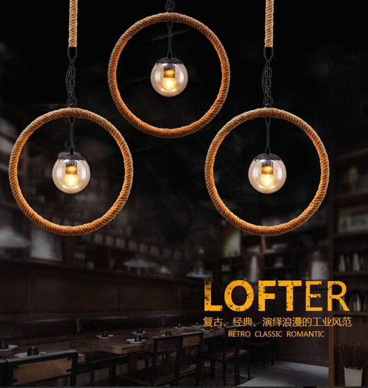 Mediterranean Vintage Loft Style Circle Hemp Rope Pendant Light Restaurant Decoration Light Coffee Shop Light Free Shipping<br><br>Aliexpress