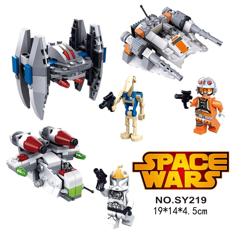 3sets STAR WARS FIGHTERS Snowspeeder Series 2 Republic Gunship Microfighters Vulture Droid Assemble Blocks MiniFigures Toys(China (Mainland))