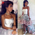 2017 High Low Prom Dresses Fairy 3D Flowers Tulle Corset Bustier Dress Cheap Backless Gray Evening