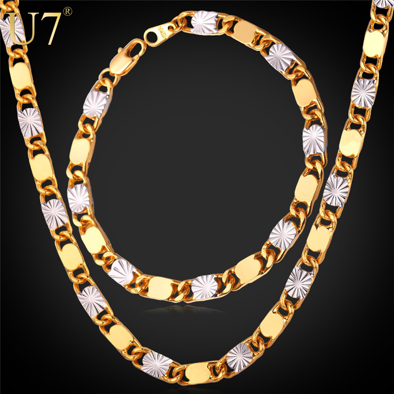 Two Tone Gold Ethiopian Jewelry Set Wholesale Trendy 18K Gold & Platinum Plated Gold Bracelet Necklace Set For Men Jewelry S703