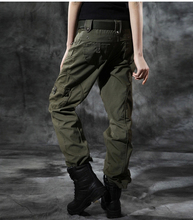 New Women Green camouflage cargo pants women army fatigue pants womens joggers sport pants multi-pocket overalls casual trousers(China (Mainland))