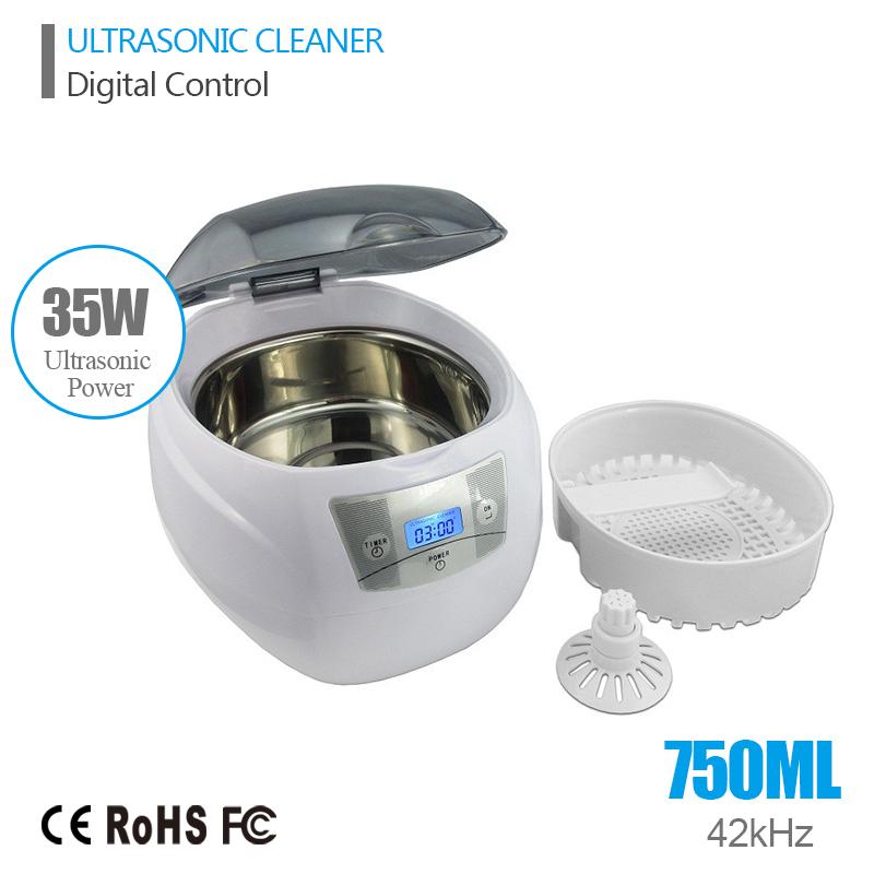 Ultrasonic Bath Cleaner 0.75L Tank Baskets Jewelry Watches Injector Ring Dental PCB 35W 42kHz Digital Mini Ultrasonic Cleaner(China (Mainland))
