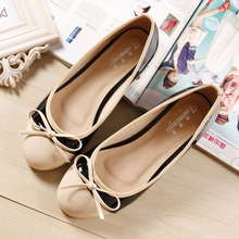 Bowtie Plus Size 35-43 size 2014 Flat Shoes Casual Shoes Pu white and black Ballet Flats Woman Shoes(China (Mainland))