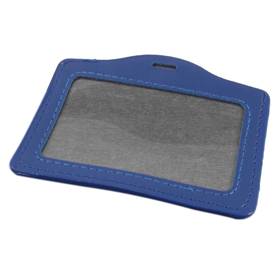 Unique Sale! 10 Pcs Blue Faux Leather Horizontal Staff Name Badge Holder(China (Mainland))