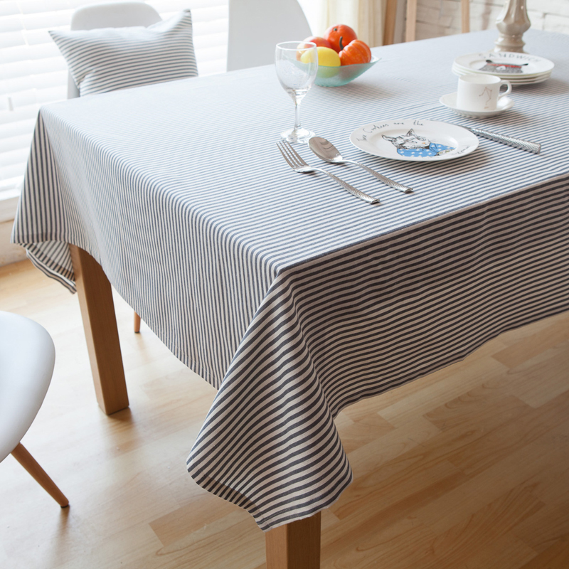 Japan and South Korea contracted the tablecloth cotton and linen simply stripe table cloth(China (Mainland))