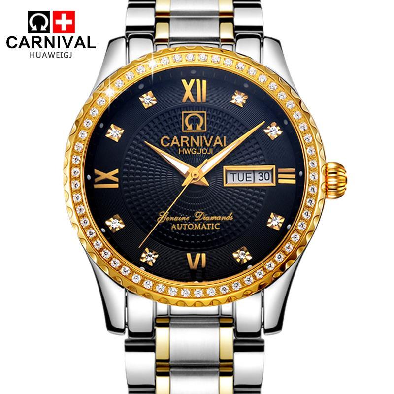 CARNIVAL Switzerland watches men luxury brand automatic business mens luminous steel double calendar relogio masculino<br><br>Aliexpress