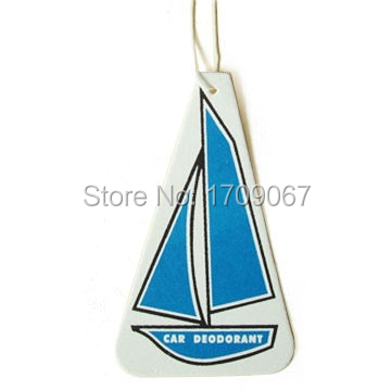 Free shipping boat Shape Scented Hanging Paper Air FreshenerPaper Perfume Card.Customized paper air freshener both sides printed(China (Mainland))