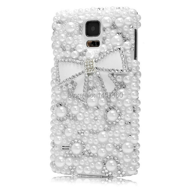 Free Shipping!Customize Pearls Bow PC MobilePhone Case for Samasung Note2/3/4 Edge N9150 Cover Skins for Galaxy N7100N9000 N9100(China (Mainland))