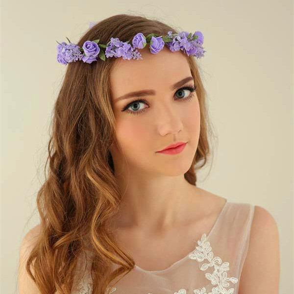 Artificial Flower Rose Romantic White Wedding Garland Bridal Wreath Beach Photography Accessories Bridal Hair Accessories Tiaras(China (Mainland))