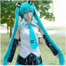Long Straight Wigs 120cm Light Blue Anime Cosplay Wigs Hatsune Miku free shipping(China (Mainland))