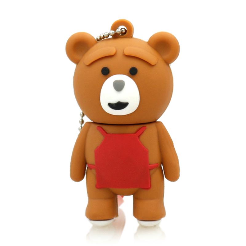 Bear usb flash drive 4g pendrive Cute Apron Bear Model u disk 16g pen drive 8G USB2.0 flash Memory Stick drive usb flash drive(China (Mainland))
