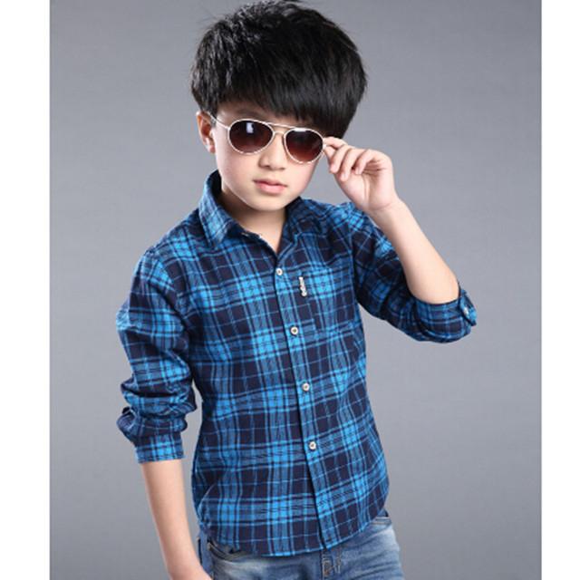 2016 мальчик весна осень плед с длинными рукавами печать старинные блузка мальчик с отложным воротником школы мода блузки высокое качество