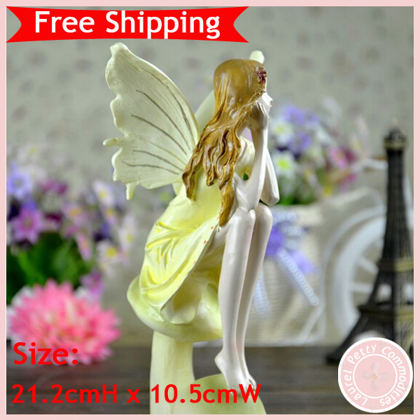 European country style crafts home decoration angel theme wood ornaments polyresin free shipping(China (Mainland))