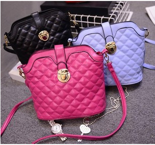 2015 new ladies candy color shell messenger bags mortise lock embroider line bucket handbag leisure fashion single shoulder bag(China (Mainland))