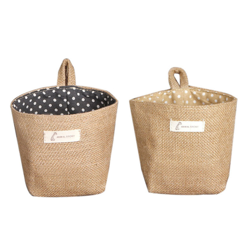 High Quality 1 PC New Storage Bags Dot Small Storage Sack Cloth Hanging Non Woven Storage Basket freeshipping 1.27(China (Mainland))
